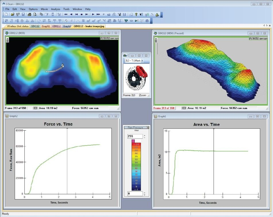 Standard I-Scan software window displaying the pressure distribution between a brake pad and rotor.