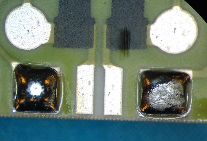 Pb-containing solder joint and a typical finished surface of a Pb-free solder joint