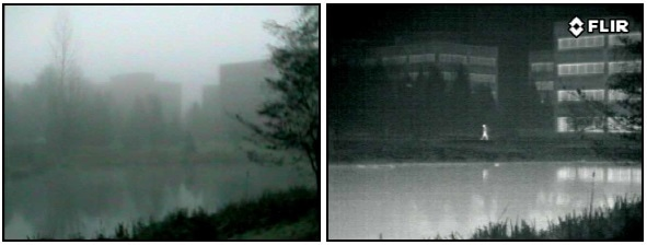 Atmospheric moisture like fog can greatly reduce a thermal camera's detection range. Also note the thermal reflections of the person and building on the surface of the water.