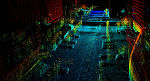 Solid state LiDAR image with object recognition software.