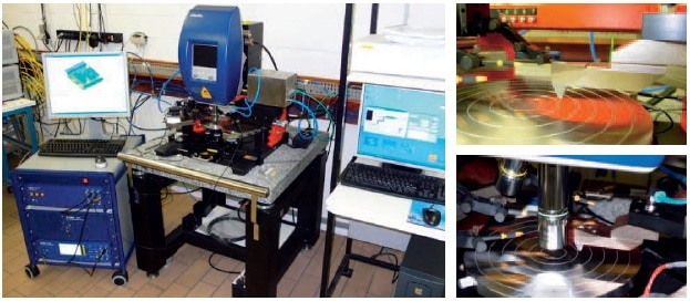 Measurement and test system including the Micro System Analyzer and pressure unit (to the right, close views of the pressure nozzle).