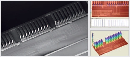 MEMS flow microsensors co-integrated with SOI CMOS circuits: SEM view (on the left), 2-D and 3-D topography profiles (on the right).