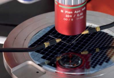 Scanning laser-Doppler vibrometer measurement of a single MEMS membrane on the wafer.