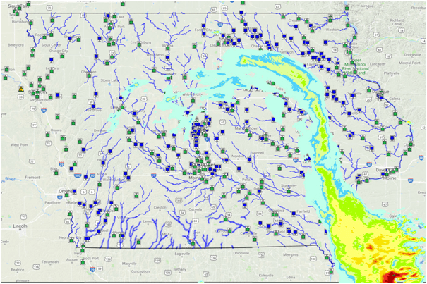 Iowa Flood Map with current rainfall conditions superimposed. Blue dots are monitoring sites that use the ToughSonic 50 level sensor.