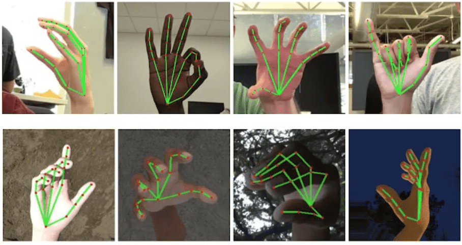 Skeletal-type hand gesture recognition images using Google's open source developer algorithm, which provides real-time gesture recognition tools using a smartphone. (Image Source: Mashable)