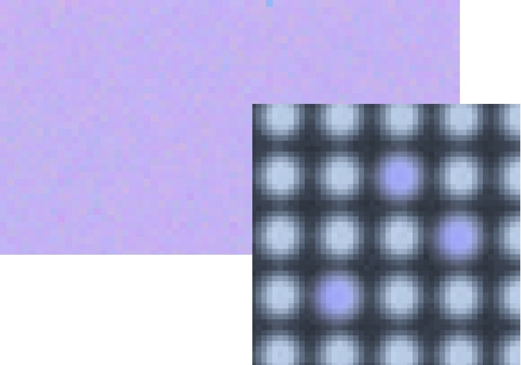 Measurement image of an uncalibrated OLED display (top) and a close-up of its display pixels (bottomright) where inconsistencies in output at the pixel and subpixel levels have resulted in observable differences in luminance and color.