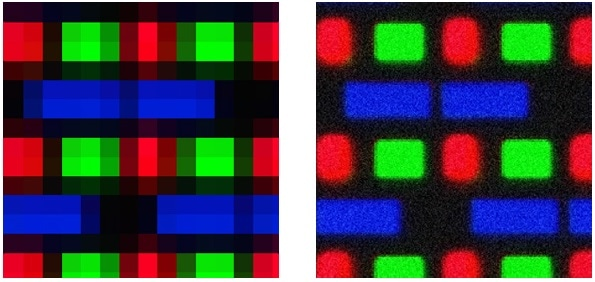 This measurement image of OLED subpixels gives an example of a low resolution/low-noise image (left) compared to a high-resolution/high-noise image (right). Neither is ideal for measurement—the ideal imaging system strikes a good balance.