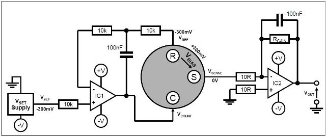 Biased sensor circuit with split power rails