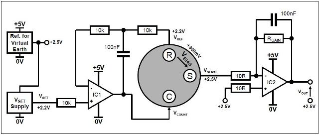 Biased sensor circuit with single power rail