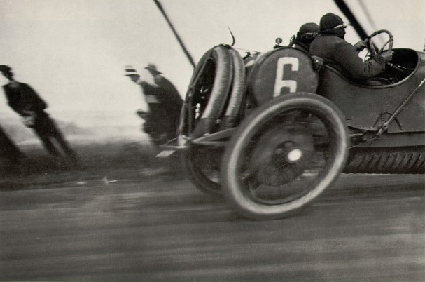 Jacques Henri Latrigue's photo of a race car taken in 1912 demonstrates the skew generated by a rolling shutter on a fast moving object.