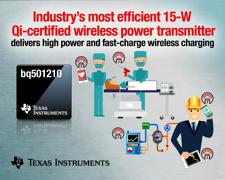 Texas Instruments Introduces Industry's First WPC v1.2 Qi-Certified 15W Wireless Power Transmitter