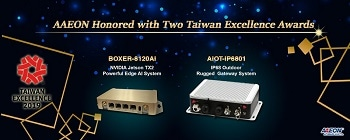 AAEON Honored with Two Taiwan Excellence Awards