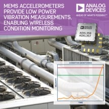 Analog Devices' MEMS Accelerometers Provide Low Power Vibration Measurements, Enabling Wireless Condition Monitoring